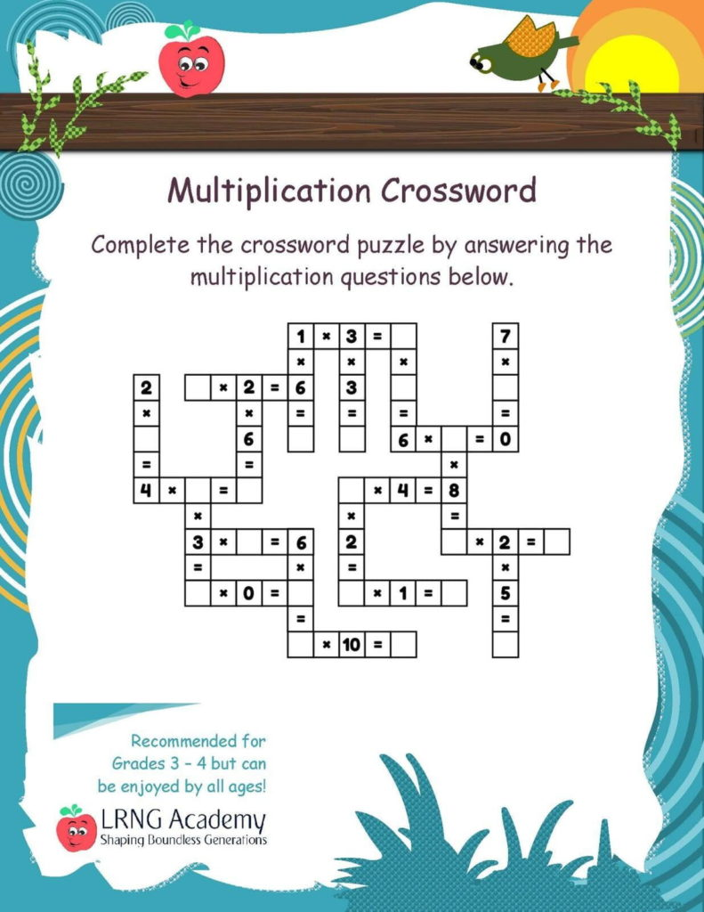 Grade 3 Multiplication Crossword - Appie Activities - LRNG Academy - Shaping Boundless Generations - Online Tutoring | Online Learning | eLearning | Virtual School | Tutoring Service | Virtual Learning