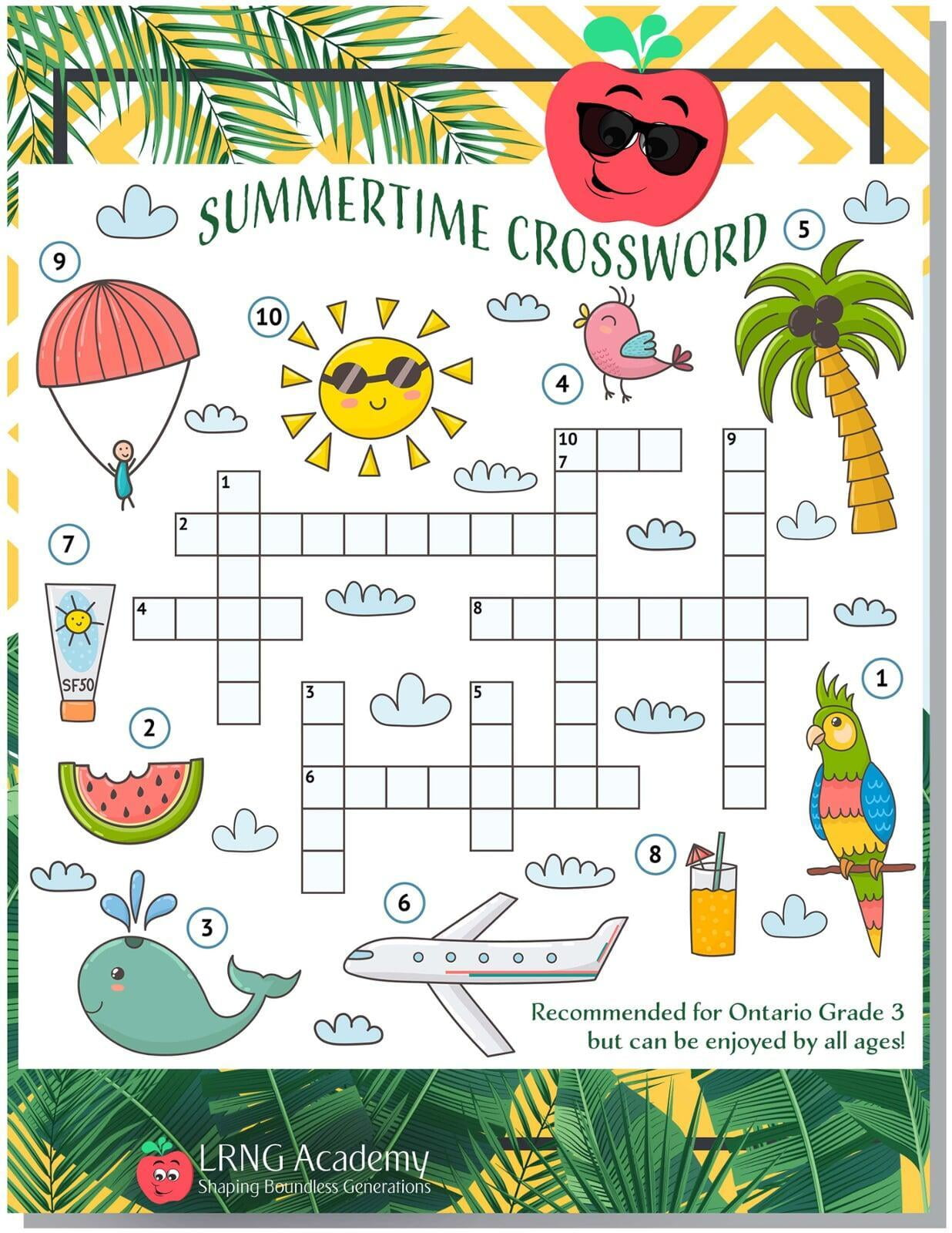 Summertime Crossword - Appie Activities - LRNG Academy - Shaping Boundless Generations - Online Tutoring | Online Learning | eLearning | Virtual School | Tutoring Service | Virtual Learning