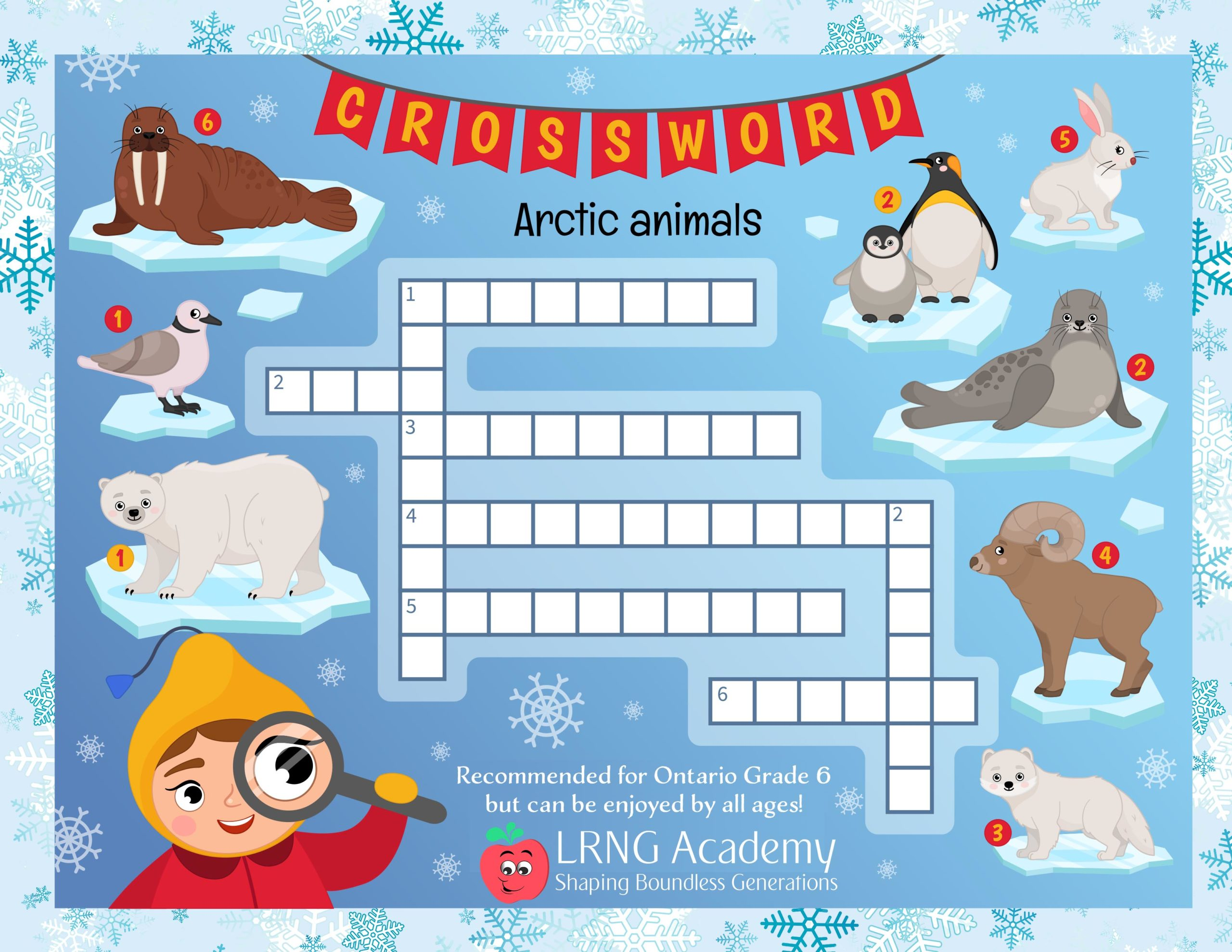 Arctic Animals Crossword scaled - Appie Activities - LRNG Academy - Shaping Boundless Generations - Online Tutoring | Online Learning | eLearning | Virtual School | Tutoring Service | Virtual Learning