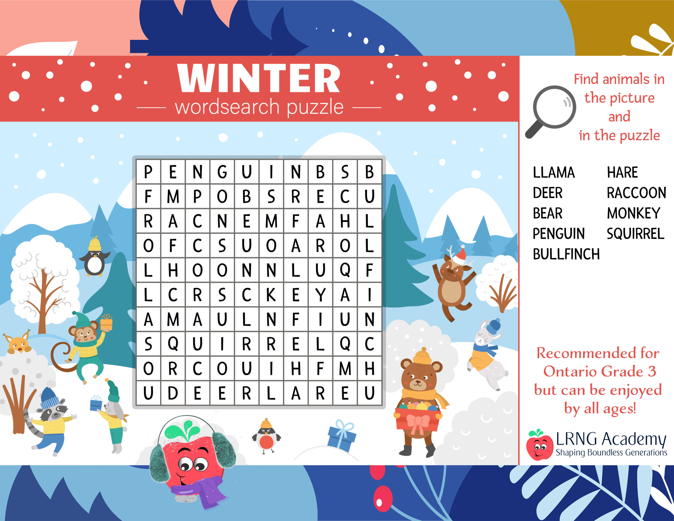 Winter Wordsearch Puzzle scaled - Appie Activities - LRNG Academy - Shaping Boundless Generations - Online Tutoring | Online Learning | eLearning | Virtual School | Tutoring Service | Virtual Learning