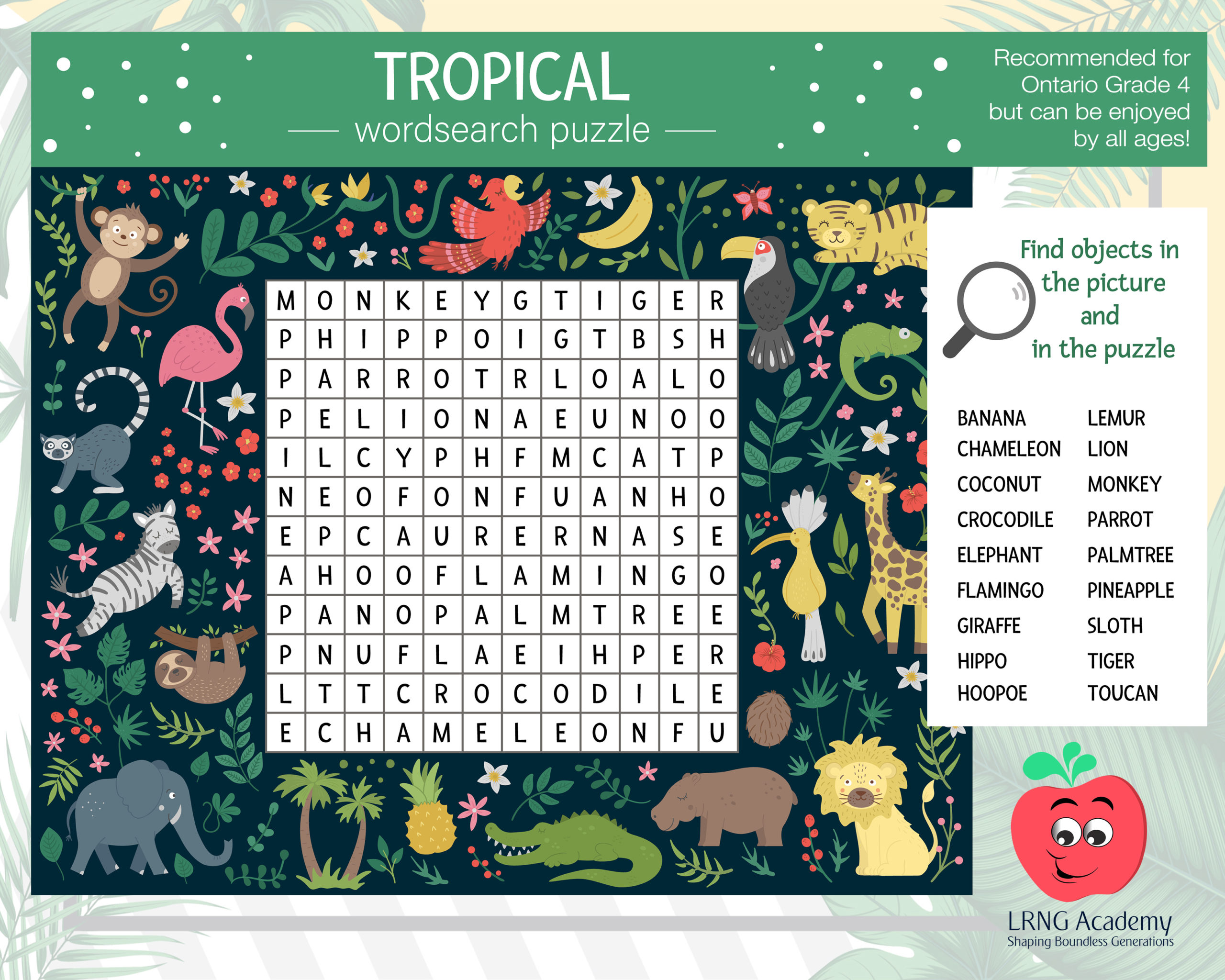 Tropical Wordsearch scaled - Appie Activities - LRNG Academy - Shaping Boundless Generations - Online Tutoring | Online Learning | eLearning | Virtual School | Tutoring Service | Virtual Learning