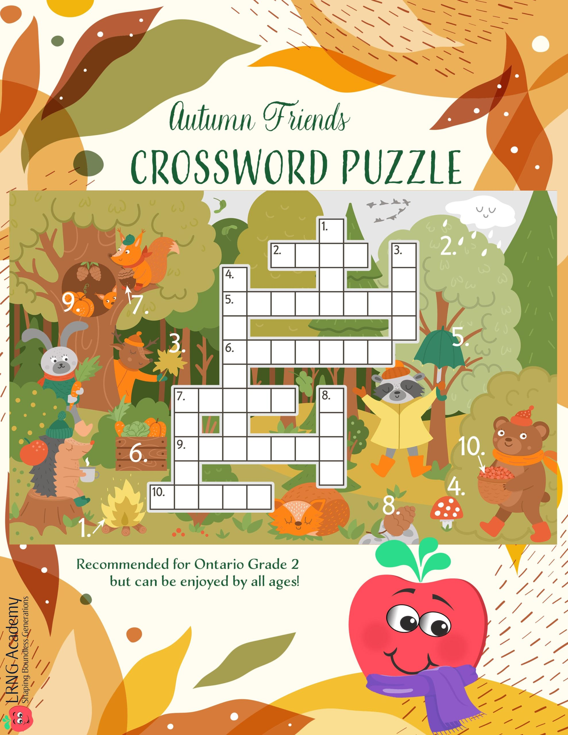 Autumn Crossword scaled - Appie Activities - LRNG Academy - Shaping Boundless Generations - Online Tutoring | Online Learning | eLearning | Virtual School | Tutoring Service | Virtual Learning
